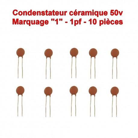 10x Condensateur Céramique 1 - 1pf - 50v - 102con221