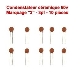 10x Condensateur Céramique 3 - 3pf - 50v - 102con223