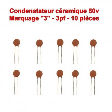 10x Condensateur Céramique 2 - 2pf - 50v - 102con222