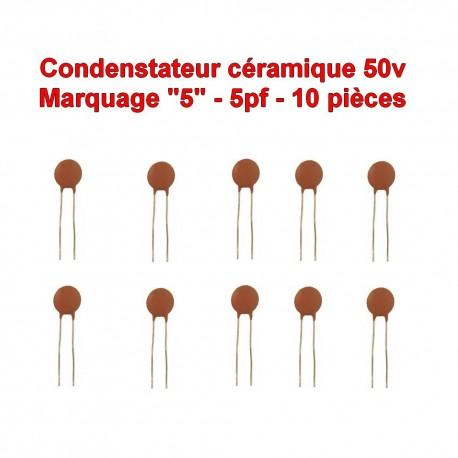 10x Condensateur Céramique 5 - 5pf - 50v - 102con225