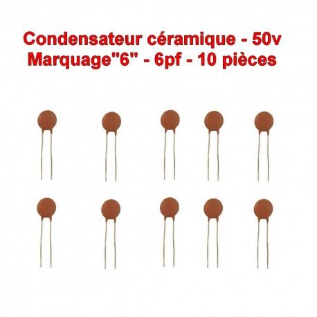 10x Condensateur Céramique 6 - 6pf - 50v - 102con226