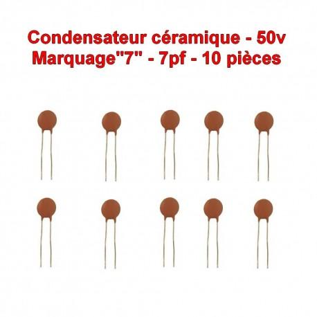 10x Condensateur Céramique 7 - 7pf - 50v - 102con227