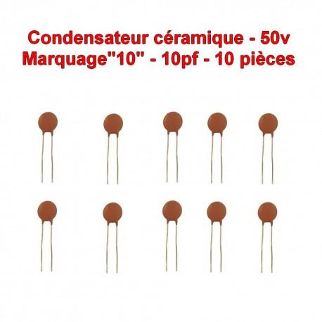 10x Condensateur Céramique 10 - 10pf - 50v - 102con229