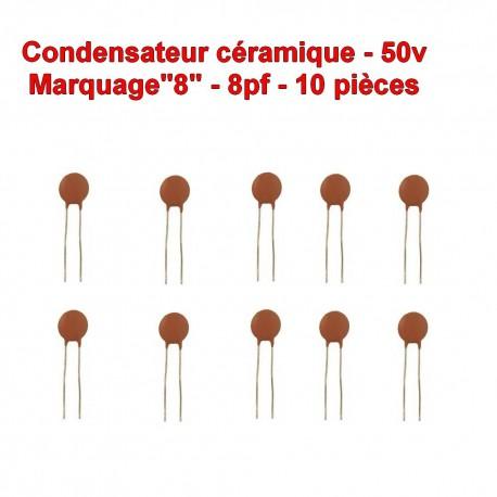 10x Condensateur Céramique 8 - 8pf - 50v - 102con228