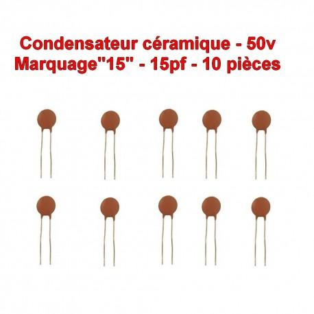 10x Condensateur Céramique 15 - 15pf - 50v - 102con230