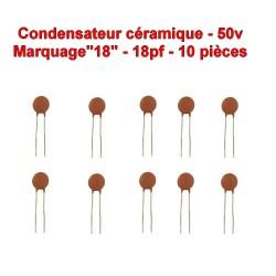 10x Condensateur Céramique 18 - 18pf - 50v - 102con231
