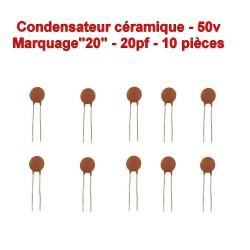 10x Condensateur Céramique 20 - 20pf - 50v - 103con233