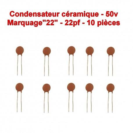 10x Condensateur Céramique 22 - 22pf - 50v - 102con234
