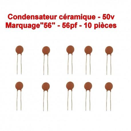 10x Condensateur Céramique 56 - 56pf - 50v - 103con241