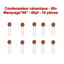 10x Condensateur Céramique 68 - 68pf - 50v - 103con242