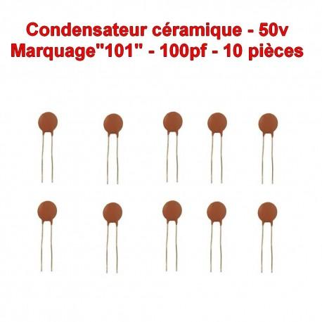 10x Condensateur Céramique 101 - 100pf - 50v - 104con245