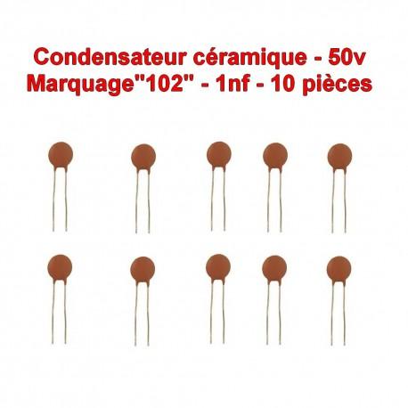 10x Condensateur Céramique 102 - 1nf - 50v - 104con246