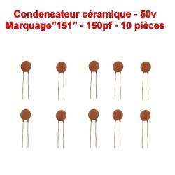 10x Condensateur Céramique 151 - 150pf - 50v - 104con250