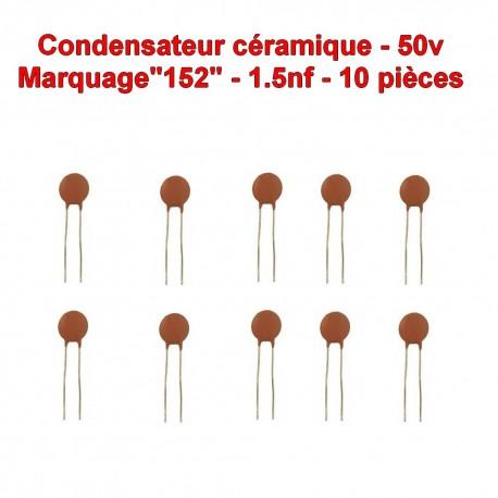 10x Condensateur Céramique 15 - 1.5nf - 50v - 104con251