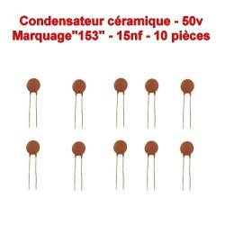10x Condensateur Céramique 153 - 15nf - 50v - 104con252