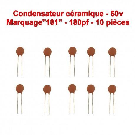 10x Condensateur Céramique 181 - 180pf - 50v - 104con253