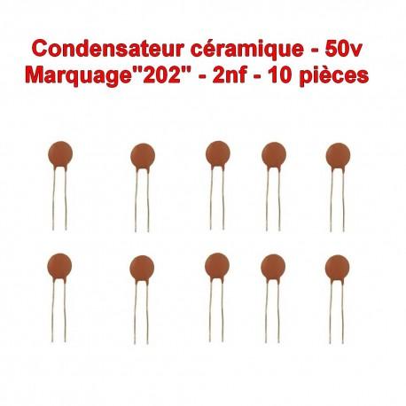 10x Condensateur Céramique 202 - 2nf - 50v - 105con255