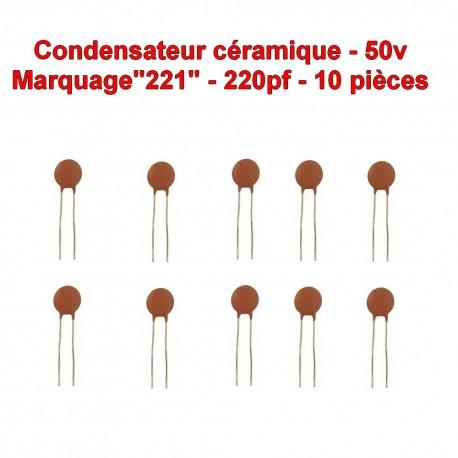 10x Condensateur Céramique 221 - 220pf - 50v - 105con257