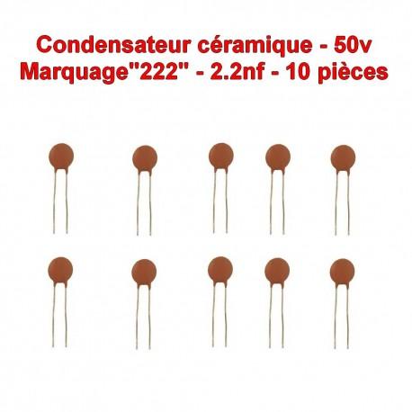 10x Condensateur Céramique 222 - 2.2nf - 50v - 105con258