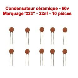 10x Condensateur Céramique 223 - 22nf - 50v - 105con259