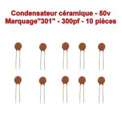 10x Condensateur Céramique 301 - 300pf - 50v - 105con260