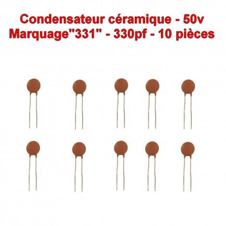 10x Condensateur Céramique 331 - 330pf - 50v - 105con261