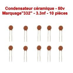 10x Condensateur Céramique 332 - 3.3nf - 50v - 105con262