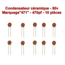 10x Condensateur Céramique 471 - 470pf - 50v - 105con263
