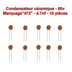 10x Condensateur Céramique 472 - 4.7nf - 50v - 106con265