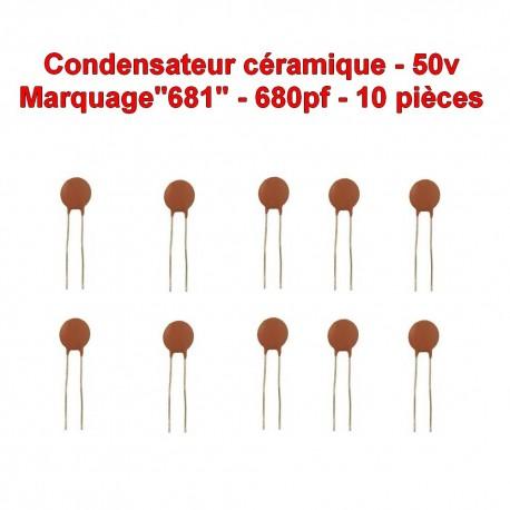 10x Condensateur Céramique 681 - 680pf - 50v - 106con267
