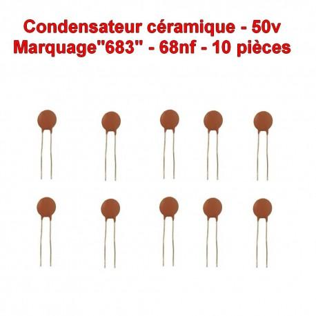 10x Condensateur Céramique 683 - 68nf - 50v - 106con269