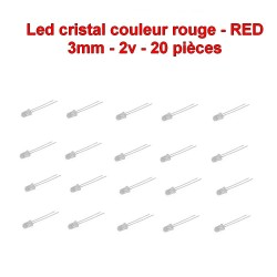 20x LED crisl rouge 3mm RED led diode - 2.1v - 20mA - 114led015