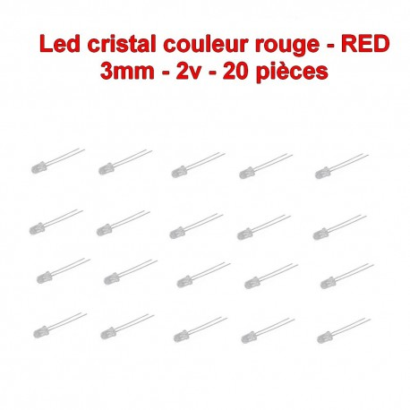 20x LED crisl rouge 3mm RED led diode - 2.1v - 20mA - 114led015