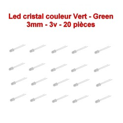 20x LED cristal vert 3mm green led diode - 3v - 20mA - 114led016