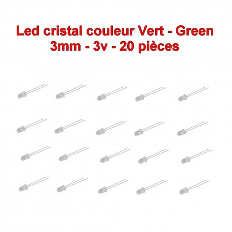 20x LED cristal vert 3mm RED led diode - 3v - 20mA - 114led016