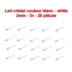 20x LED cristal blanc 3mm white led diode - 3v - 20mA - 114led017