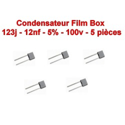 5x Condensateur film polyester box 123j - 12nF - 100v - ARCOTRONIC - 109con296