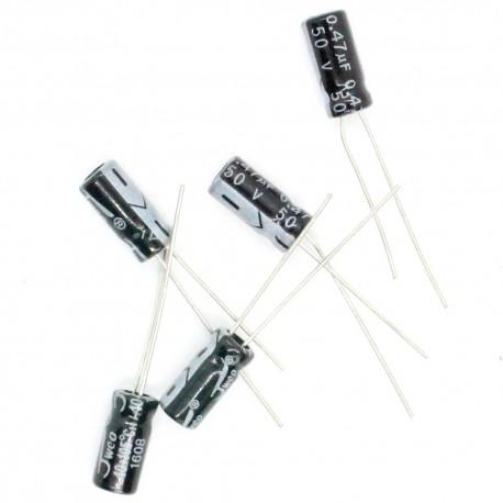 Condensateur chimique radial 0.47uF 50V 5x12mm - 7con039