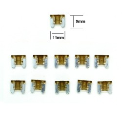 10x ultra mini Fusibles Lame 7.5A 11x9mm - 124fus235