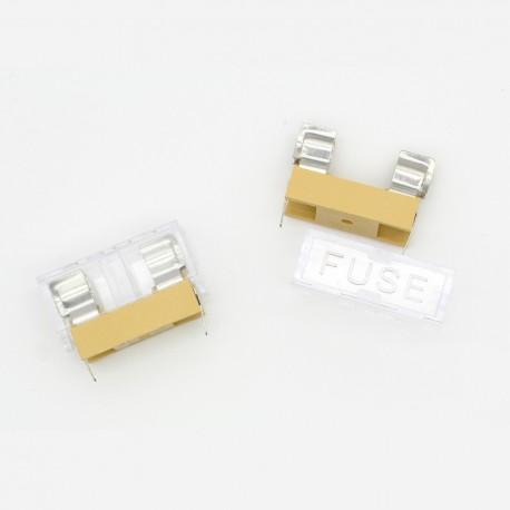 2x Porte fusible verre ouvert 5 x 20 mm a souder 250v - 6A max