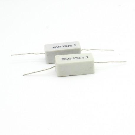 2x Résistance Céramique 5w - 15ohm Ciment bobinée Axial