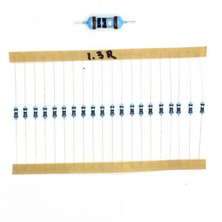 20x Résistances métal ¼W - 0.25w - 1% - 1R3 - 1.3ohm 1.3 ohm