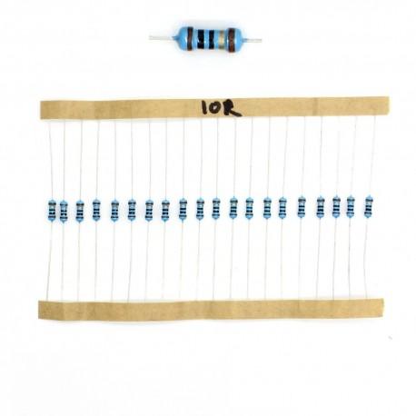 20x Résistances métal ¼W - 0.25w - 1% - 10R - 10ohm 10 ohm