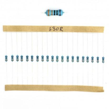 20x Résistances métal ¼W - 0.25w - 1% - 330R - 330ohm 330 ohm