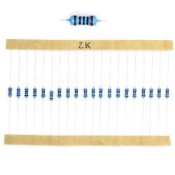 20x Résistances métal ¼W - 0.25w - 1% - 2000R - 2Kohm 2K ohm - 59res139
