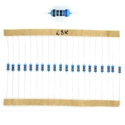 20x Résistances métal ¼W - 0.25w - 1% - 6.8Kohm 6.8K ohm - 59res144