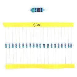 20x Résistances métal ¼W - 0.25w - 1% - 51Kohm 51K ohm - 60res148