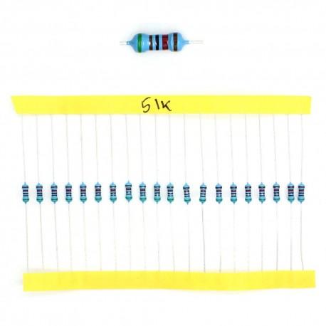20x Résistances métal ¼W - 0.25w - 1% - 51Kohm 51K ohm