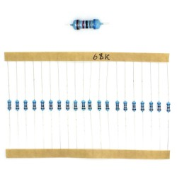 20x Résistances métal ¼W - 0.25w - 1% - 68Kohm 68K ohm - 60res149