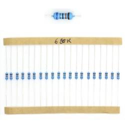 20x Résistances métal ¼W - 0.25w - 1% - 680Kohm 680K ohm - 60res156